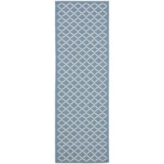 Safavieh Indoor/ Outdoor Courtyard Blue/ Beige Rug (2'3 x 16')
