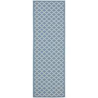 Safavieh Indoor/ Outdoor Courtyard Blue/ Beige Rug - 2'3 x 16'