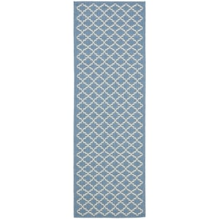 Safavieh Indoor/ Outdoor Courtyard Blue/ Beige Runner Rug (2'3 x 18')