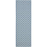 Safavieh Indoor/ Outdoor Courtyard Blue/ Beige Rug - 2'3 x 20'