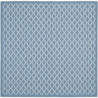 Safavieh Indoor/Outdoor Courtyard Blue/Beige Machine-made Rug (7'10 Square)