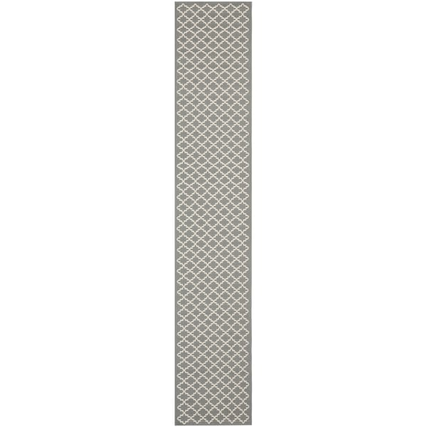 "Safavieh Contemporary Indoor/Outdoor Courtyard Anthracite/Beige Rug (2'4"" x 16') - 2'4 x 16'"