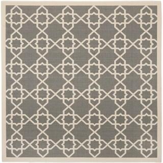 Safavieh Courtyard Geometric Trellis Grey/ Beige Indoor/ Outdoor Rug (7'10 Square)