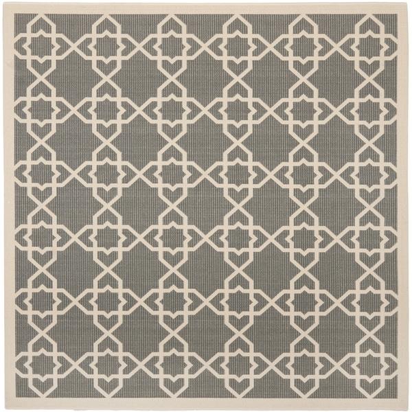 Safavieh Indoor/ Outdoor Courtyard Grey/ Beige Rug (7'10 Square)
