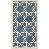 Safavieh Courtyard Geometric Trellis Navy/ Beige Indoor/ Outdoor Rug - 2' x 3'-7""