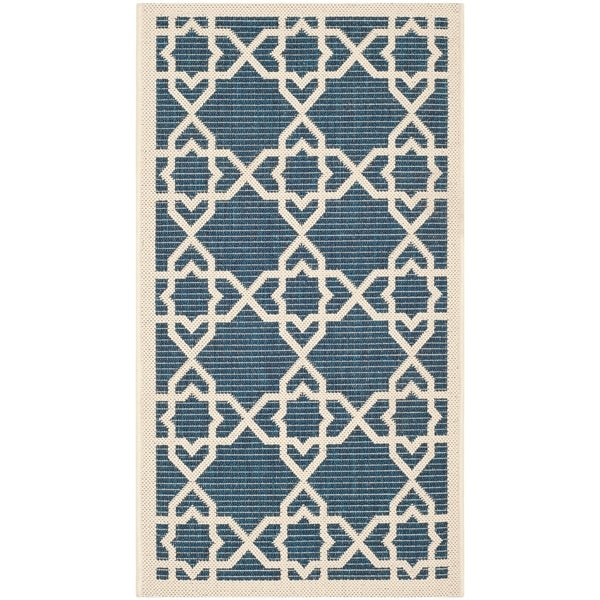 Shop Safavieh Courtyard Geometric Trellis Navy Beige