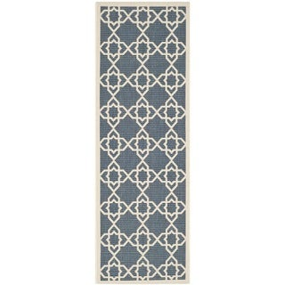 Safavieh Moroccan Indoor/Outdoor Courtyard Navy/Beige Rug (2'3 x 6'7)