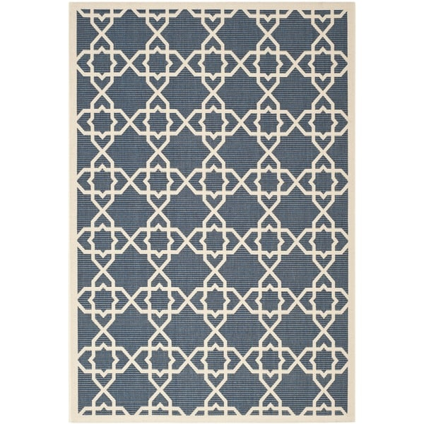 Safavieh Courtyard Geometric Trellis Navy Beige Indoor