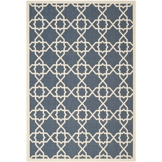 Safavieh Courtyard Geometric Trellis Navy/ Beige Indoor/ Outdoor Rug (6'7 x 9'6)