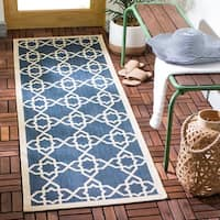 "Safavieh Courtyard Geometric Trellis Navy/ Beige Indoor/ Outdoor Rug - 2'3"" x 10' Runner"