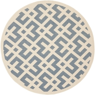Safavieh Courtyard Contemporary Blue/ Bone Indoor/ Outdoor Rug (7'10 Round)