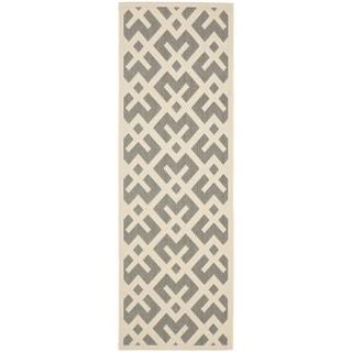 Safavieh Courtyard Contemporary Grey/ Bone Indoor/ Outdoor Rug (2'3 x 8')