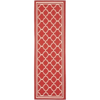 Safavieh Indoor/ Outdoor Courtyard Red/ Bone Runner Rug (2'4 x 14')