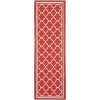 Safavieh Indoor/ Outdoor Courtyard Red/ Bone Rug - 2'3 x 16'