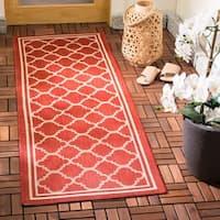 """Safavieh Indoor/ Outdoor Courtyard Red/ Bone Rug - 2'3"""" x 16'"""