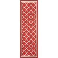 Safavieh Indoor/ Outdoor Courtyard Red/ Bone Rug - 2'3 x 18'