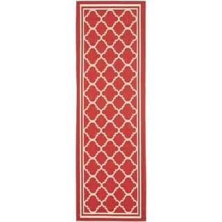 Safavieh Indoor/ Outdoor Courtyard Red/ Bone Rug (2'3 x 20')