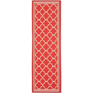 Safavieh Indoor/ Outdoor Courtyard Red/ Bone Rug (2'3 x 8')