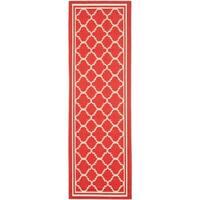 """Safavieh Indoor/ Outdoor Courtyard Red/ Bone Rug - 2'3"""" x 8'"""
