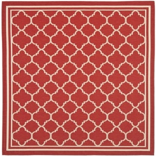 Safavieh Indoor/ Outdoor Courtyard Red/ Bone Rug (5'3 Square)