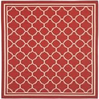 Safavieh Indoor/ Outdoor Courtyard Red/ Bone Rug - 7'10 Square