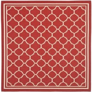 Safavieh Indoor/ Outdoor Courtyard Red/ Bone Rug - 7'10 Square