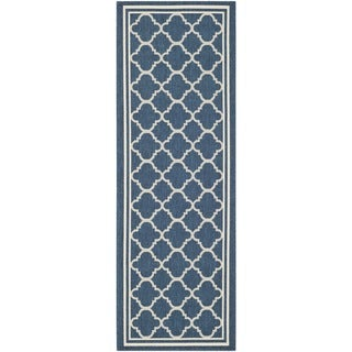Safavieh Dhurrie Indoor/Outdoor Courtyard Navy/Beige Rug (2'3 x 10')