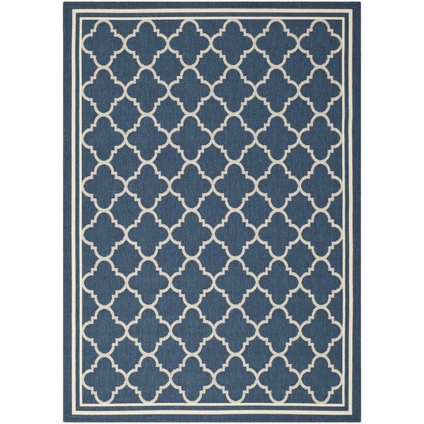 Safavieh Dhurrie Indoor/Outdoor Courtyard Navy/Beige Rug (4' x 5'7)
