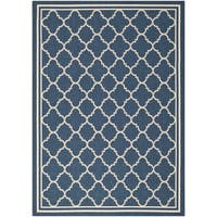 Safavieh Dhurrie Indoor/Outdoor Courtyard Navy/Beige Rug (5'3 x 7'7) - 5'3 x 7'7