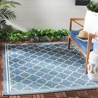 Safavieh Dhurrie Indoor/Outdoor Courtyard Navy/Beige Rug - 5'3 x 7'7