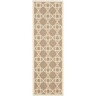 Safavieh Courtyard Geometric Trellis Brown/ Beige Indoor/ Outdoor Rug (2'3 x 14')