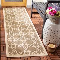 Safavieh Courtyard Geometric Trellis Brown/ Beige Indoor/ Outdoor Rug - 2'3 x 8'