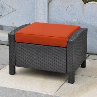 International Caravan Barcelona Resin Wicker/Aluminum Ottoman with Cushion (2 options available)