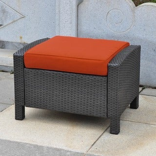 International Caravan Barcelona Resin Wicker/Aluminum Ottoman with Cushion