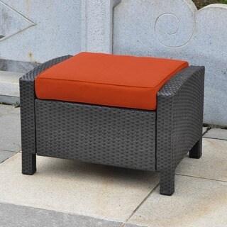 International Caravan Barcelona Resin Wicker/Aluminum Ottoman with Cushion