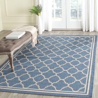 Safavieh Indoor/ Outdoor Courtyard Blue/ Beige Rug - 7'10 Square