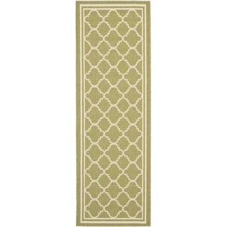 Safavieh Indoor/ Outdoor Courtyard Green/ Beige Rug (2'4 x 12')