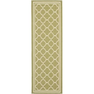 Safavieh Indoor/ Outdoor Courtyard Green/ Beige Rug (2'3 x 8')