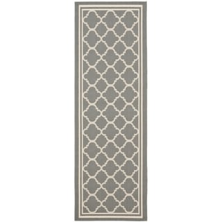 Safavieh Indoor/ Outdoor Courtyard Anthracite/ Beige Runner Rug (2'3 x 18')