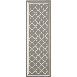 Safavieh Indoor/ Outdoor Courtyard Anthracite/ Beige Rug (2'4 x 22')