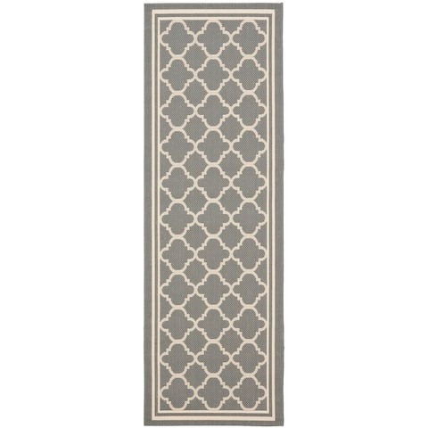 "Safavieh Courtyard Kailani Grey/ Beige Indoor/ Outdoor Rug - 2'3"" x 22' Runner"