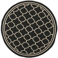 Safavieh Indoor/Outdoor Courtyard Black/Beige Transitional Rug - 7'10 Round