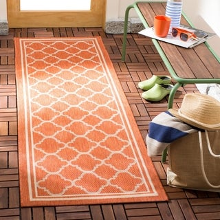 Safavieh Indoor/ Outdoor Courtyard Terracotta/ Bone Rug (2'3 x 8')