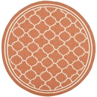 Safavieh Indoor/ Outdoor Courtyard Terracotta/ Bone Rug (7'10 Round)