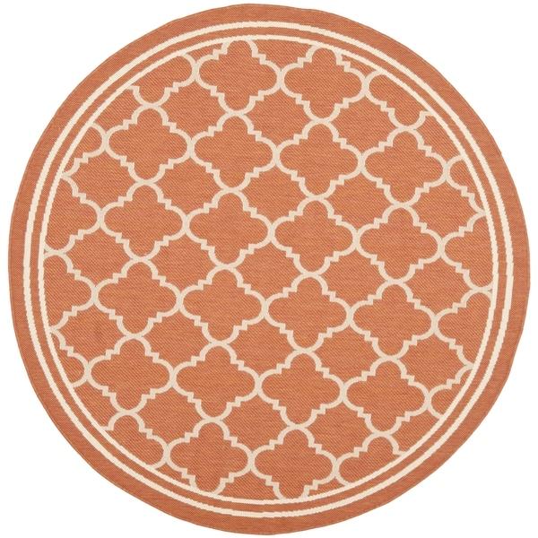 "Safavieh Courtyard Kailani Terracotta/ Bone Indoor/ Outdoor Rug - 7'10"" x 7'10"" Round"