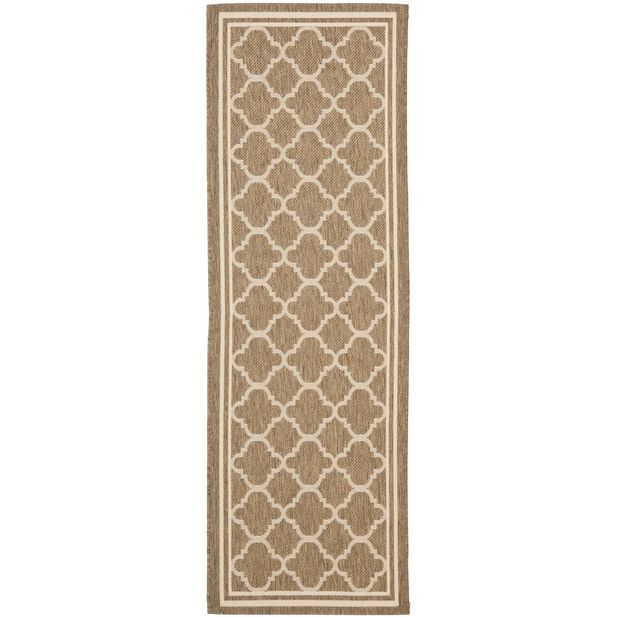 Safavieh Indoor/ Outdoor Courtyard Brown/ Bone Rug (23 X 16)