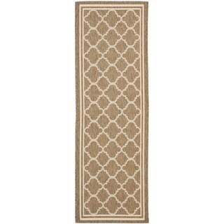 Safavieh Indoor/ Outdoor Courtyard Brown/ Bone Rug - 2'3 x 16'