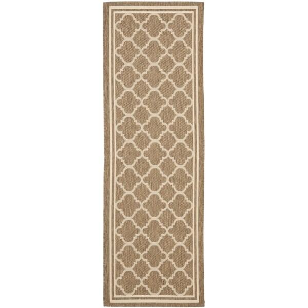 Safavieh Indoor/ Outdoor Courtyard Brown/ Bone Rug (2'3 x 16')
