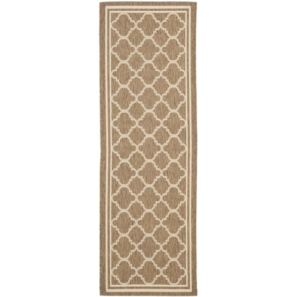 Safavieh Indoor/ Outdoor Courtyard Brown/ Bone Rug (2'3 x 18')