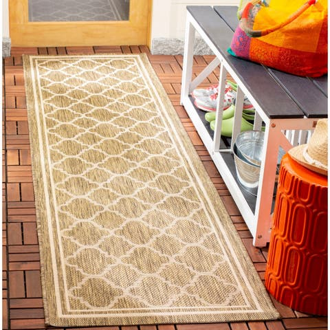 "Safavieh Courtyard Kailani Brown/ Bone Indoor/ Outdoor Rug - 2'3"" x 22' Runner"